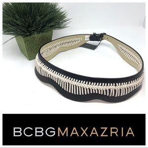 BCBGMaxazria Black &White Whip Stitch Belt Size L